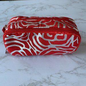Red Silver Zebra Print Makeup Bag